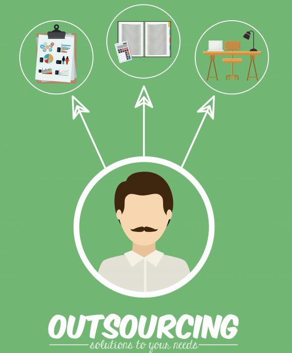 Outsourcing digital design, vector illustration eps 10